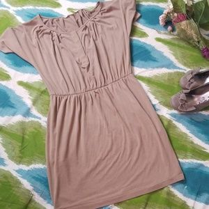 Rachel Roy beige midi dress shirt size small